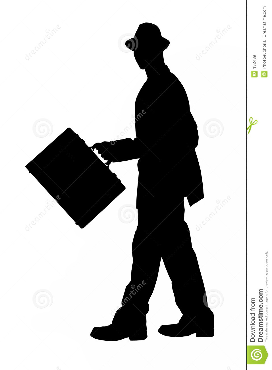 Silhouette Of Business Man Walking With Briefcase With ...