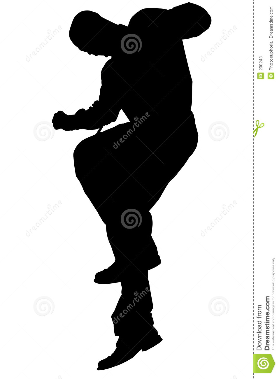 Silhouette With Clipping Path of Man Jumping