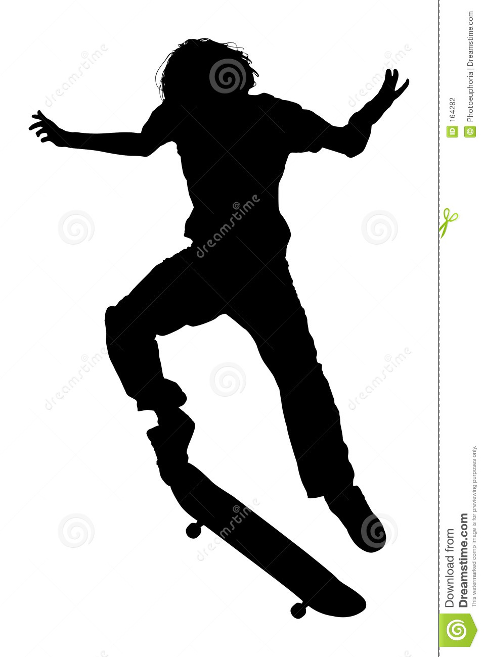 silhouette with clipping path of teen boy on skateboard