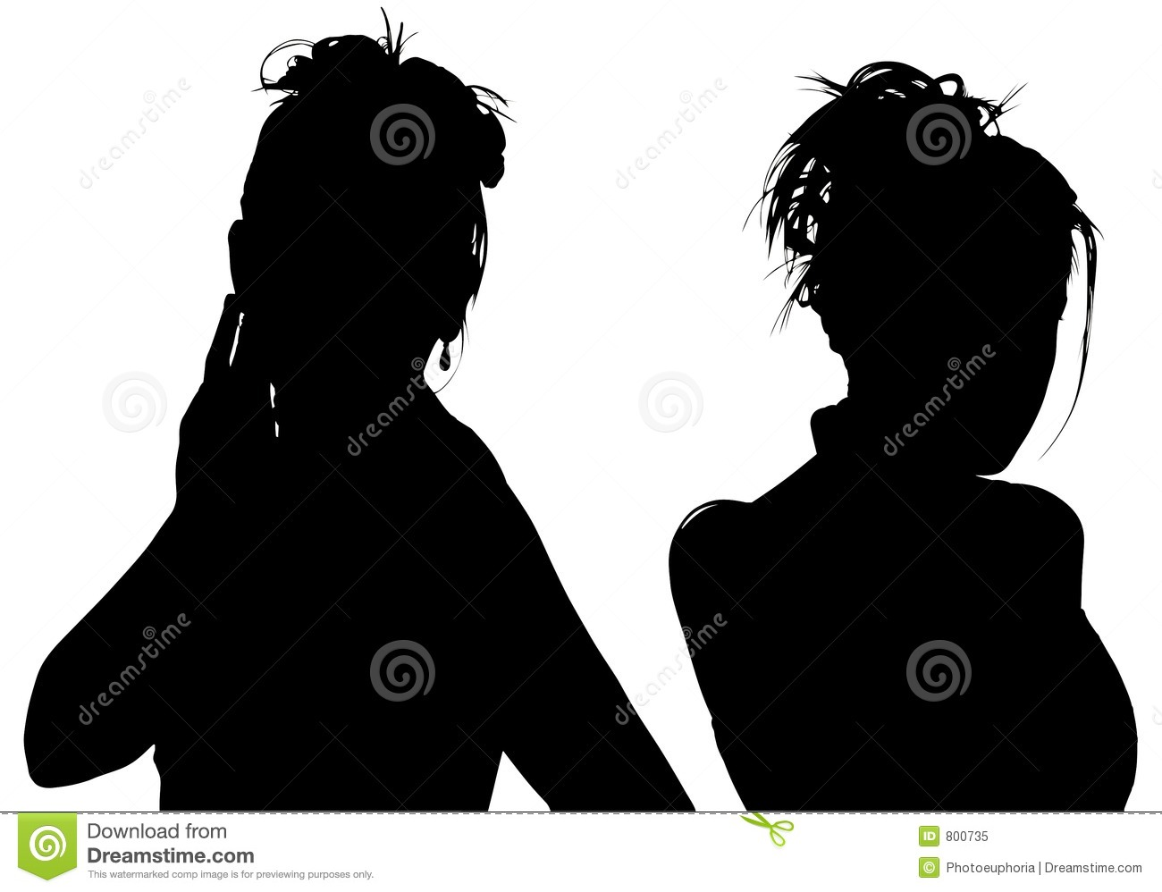 Silhouette With Clipping Path of Two Women
