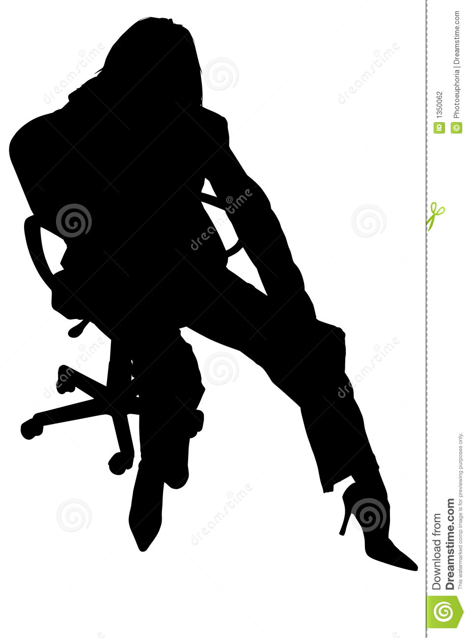 Silhouette With Clipping Path Of Woman In Chair Stock Photography ...