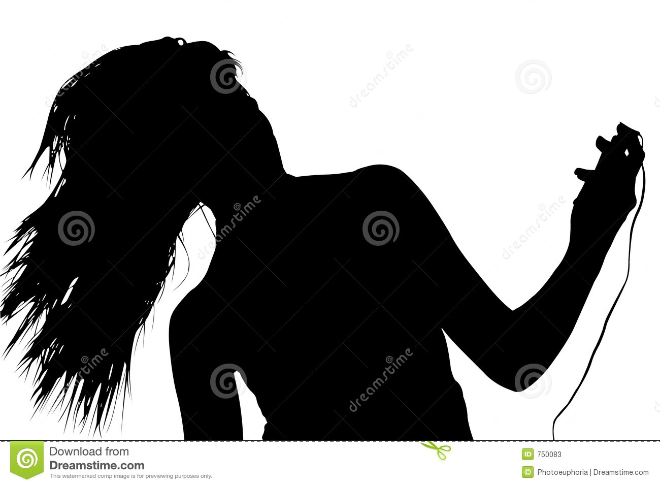 Silhouette with clipping path of woman with digital music player
