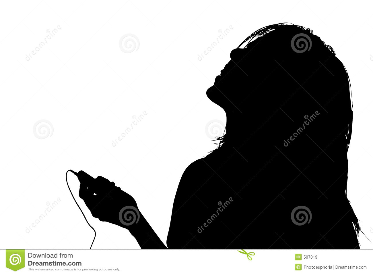 Photos silhouette with clipping path of woman listening to music