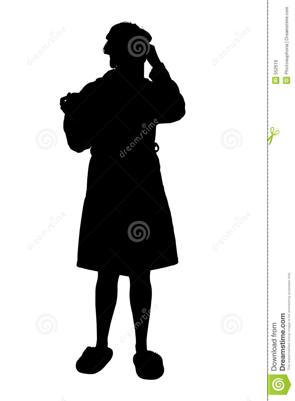 Silhouette With Clipping Path Of Woman In Robe Blowing Nose Royalty ...