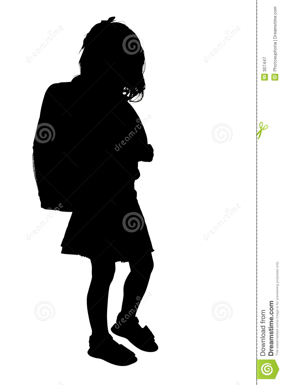 Silhouette With Clipping Path Of Young Girl With Backpack ...
