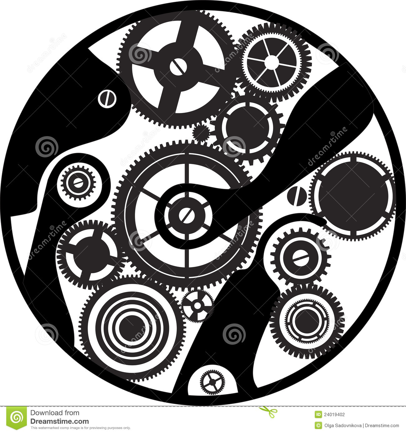Silhouette Clockwork Stock Photography - Image: 24019402