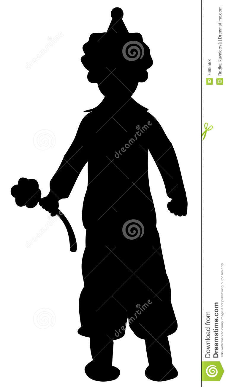 Silhouette Of Clown With Flower Royalty Free Stock Photos