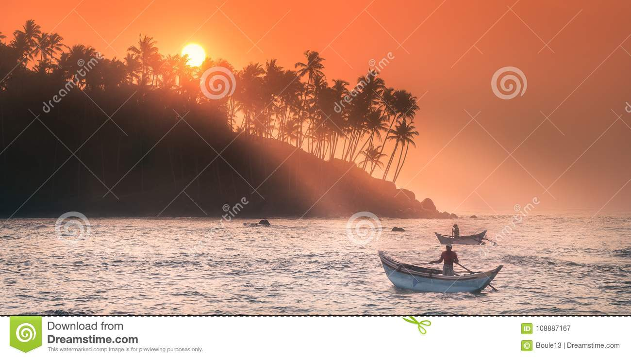 Tropical beach on sunset with palm and sea