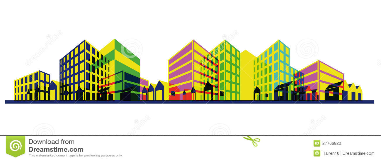 Silhouette colorée de ville. Retrait de point de vue