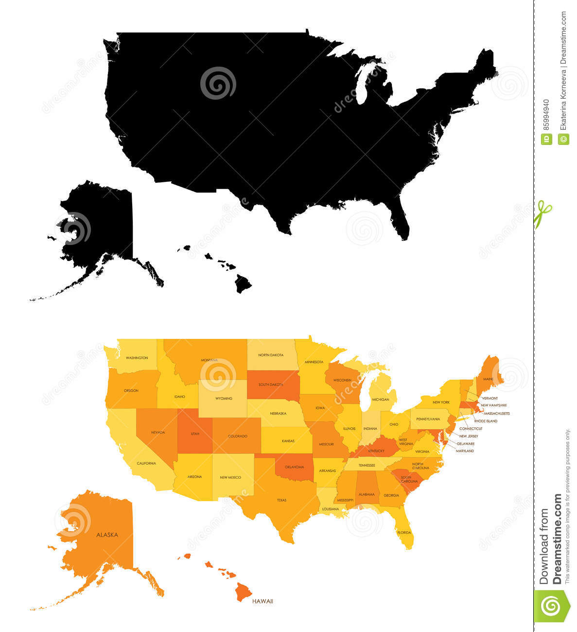 Color Map Of North America.Silhouette Color Map Of United States Stock Vector Illustration Of