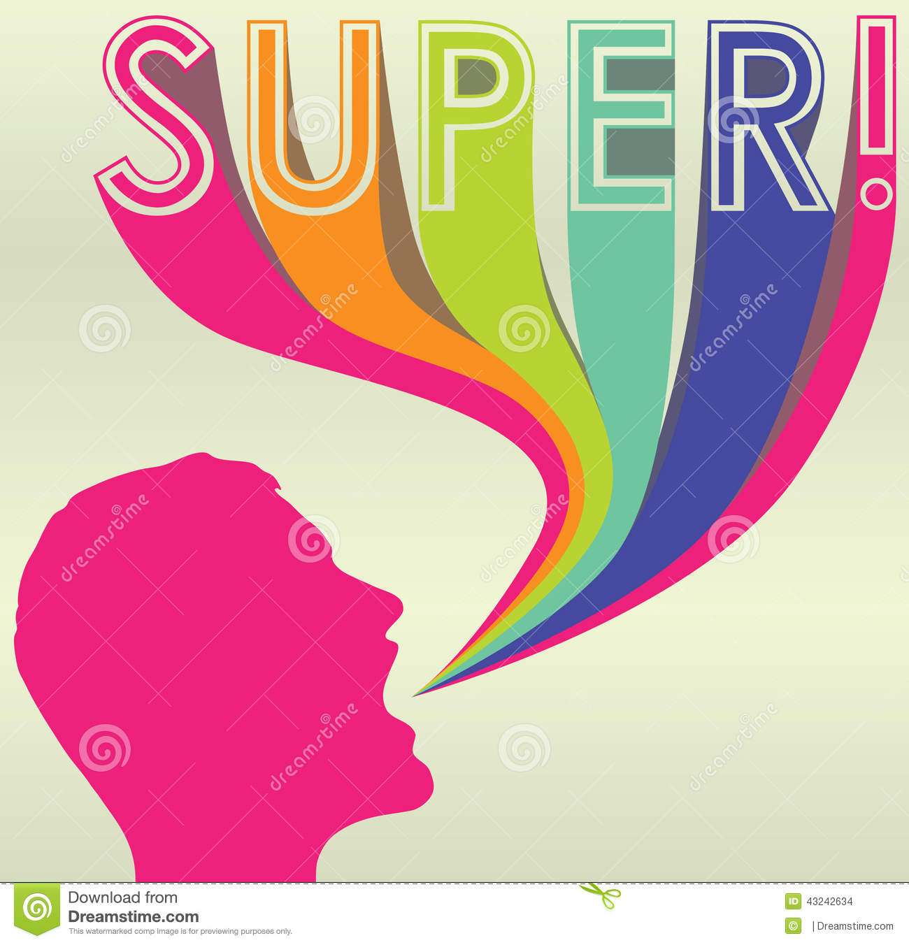 Silhouette With Colorful Caption Of Super