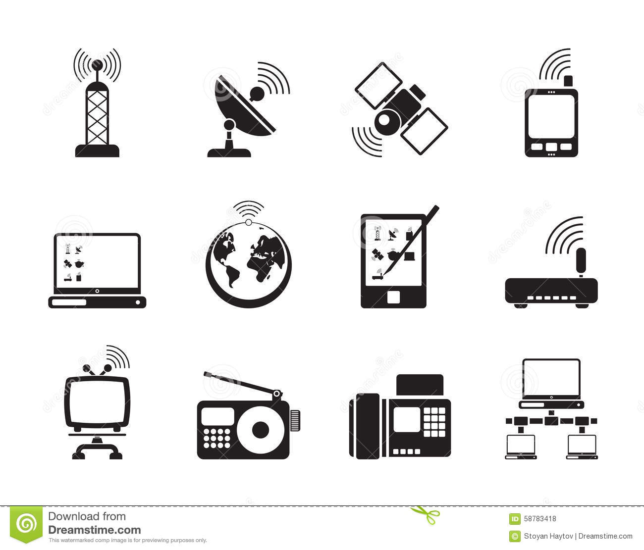 Communication, Connection And Technology Icons Vector ...  Communication, ...