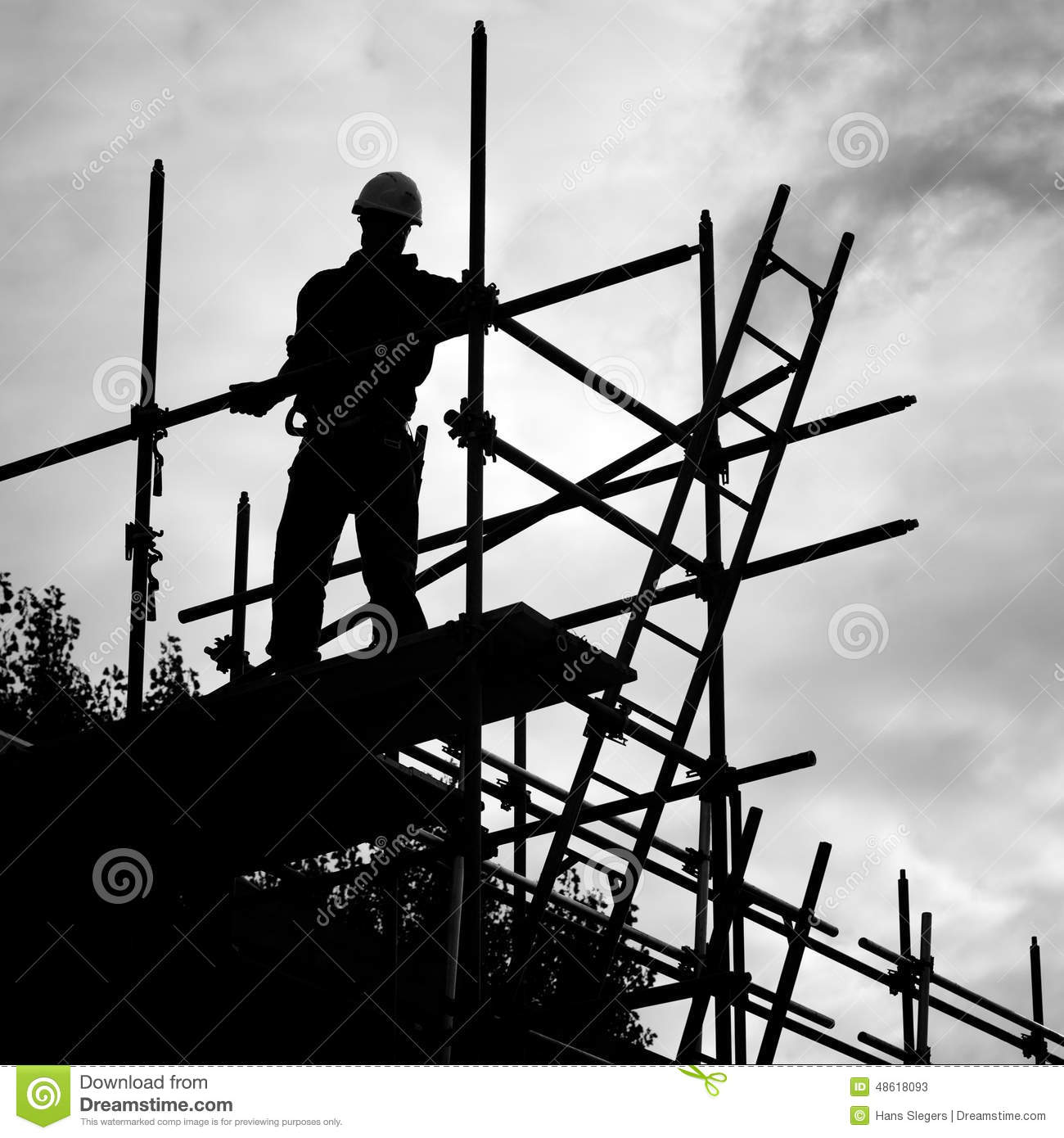 silhouette construction worker on scaffolding building site stock silhouette construction worker on scaffolding building site