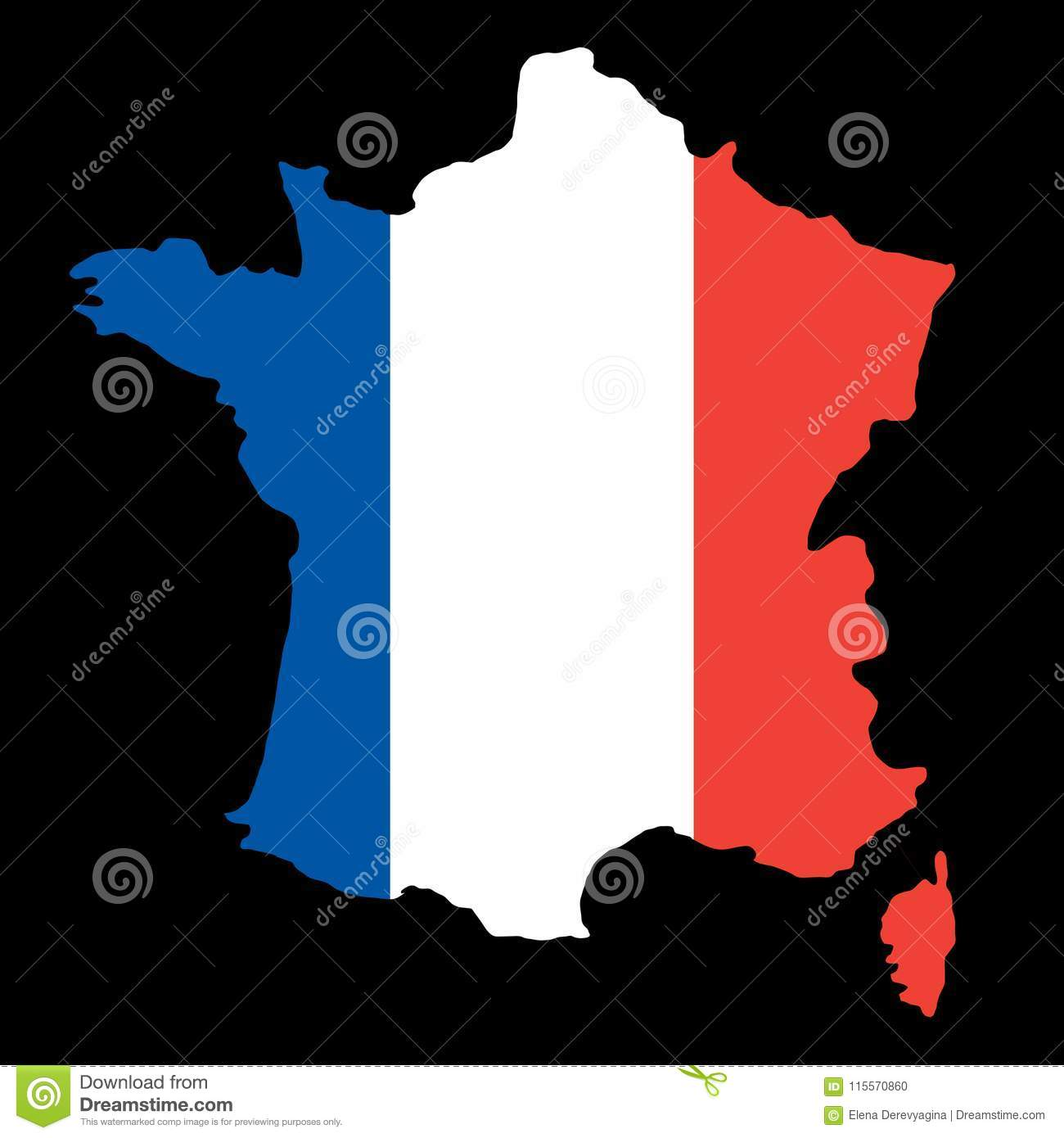 Country Map Of France.Silhouette Country Borders Map Of France On National Flag Background