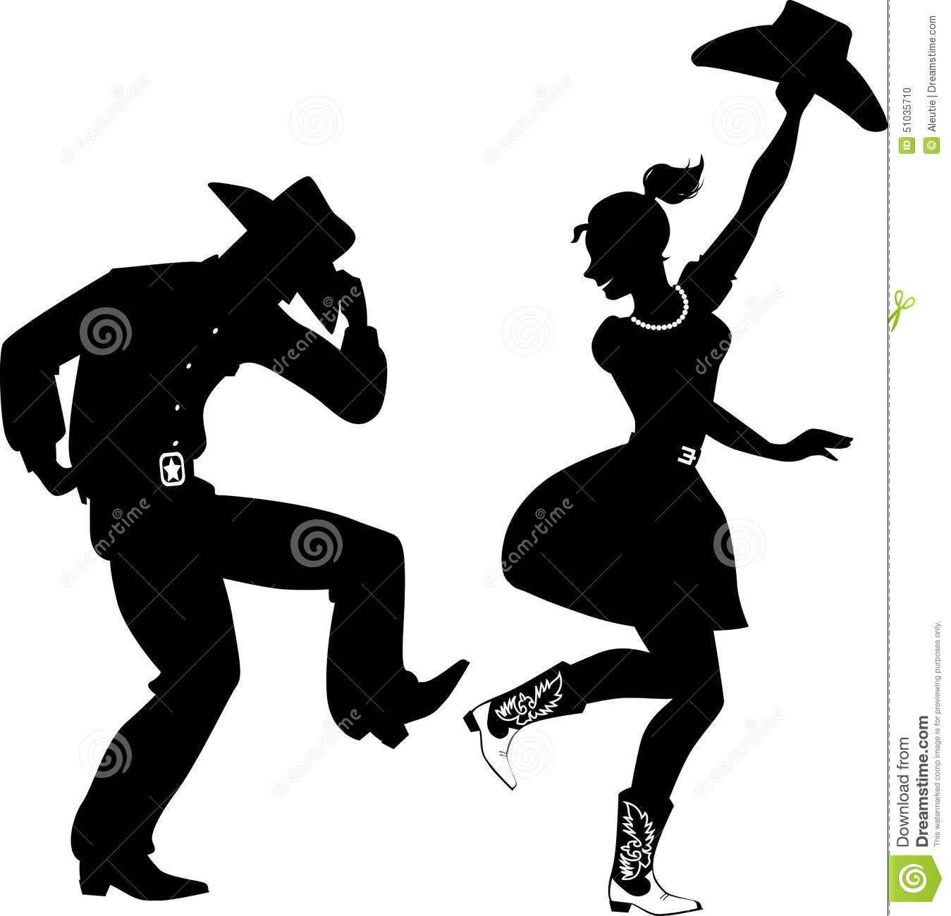 Silhouette Country Western Dancers Black Couple Dressed Traditional Style Clothes Cowboy Boots Stetson Hats Dancing No on Western Two Step Dance