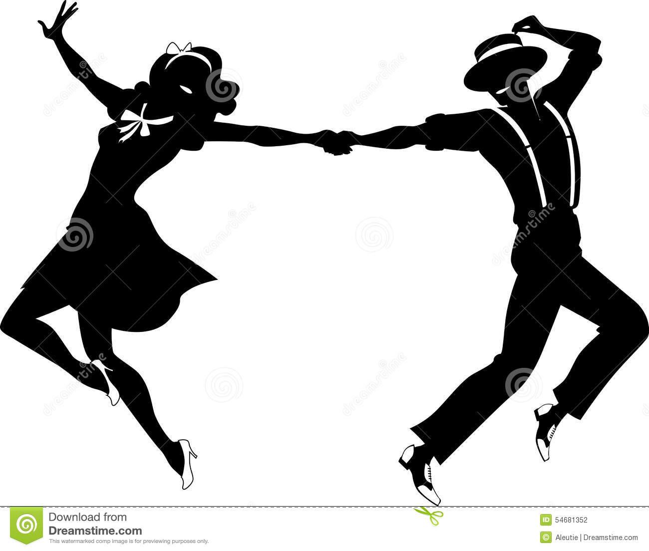 Silhouette Couple Dancing Black Vector Swing Tap Dance No White Objects Eps on 1940s Jitterbug Dance