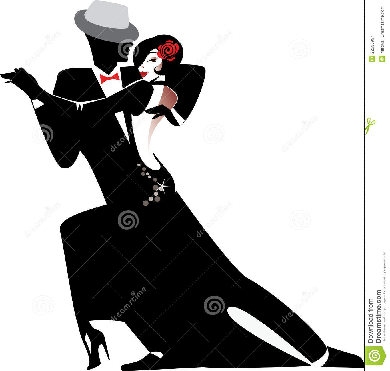 Silhouette of couple dancing tango