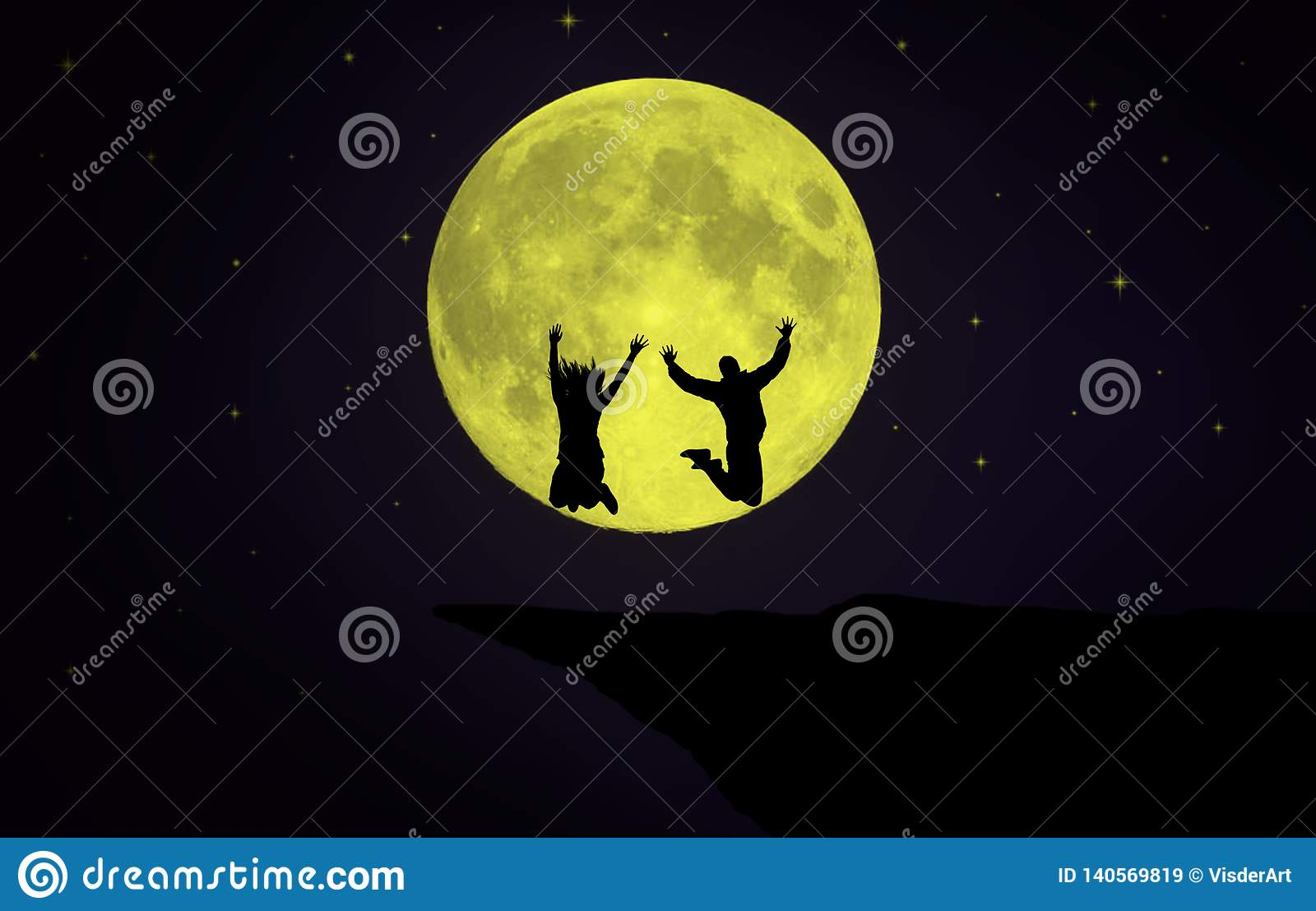 Couple jumping in front of the Moon