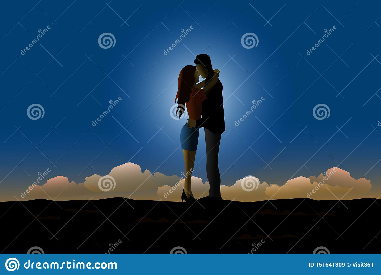 Silhouette of the couple is kissing on the hilltop. With moonlight and blue sky background