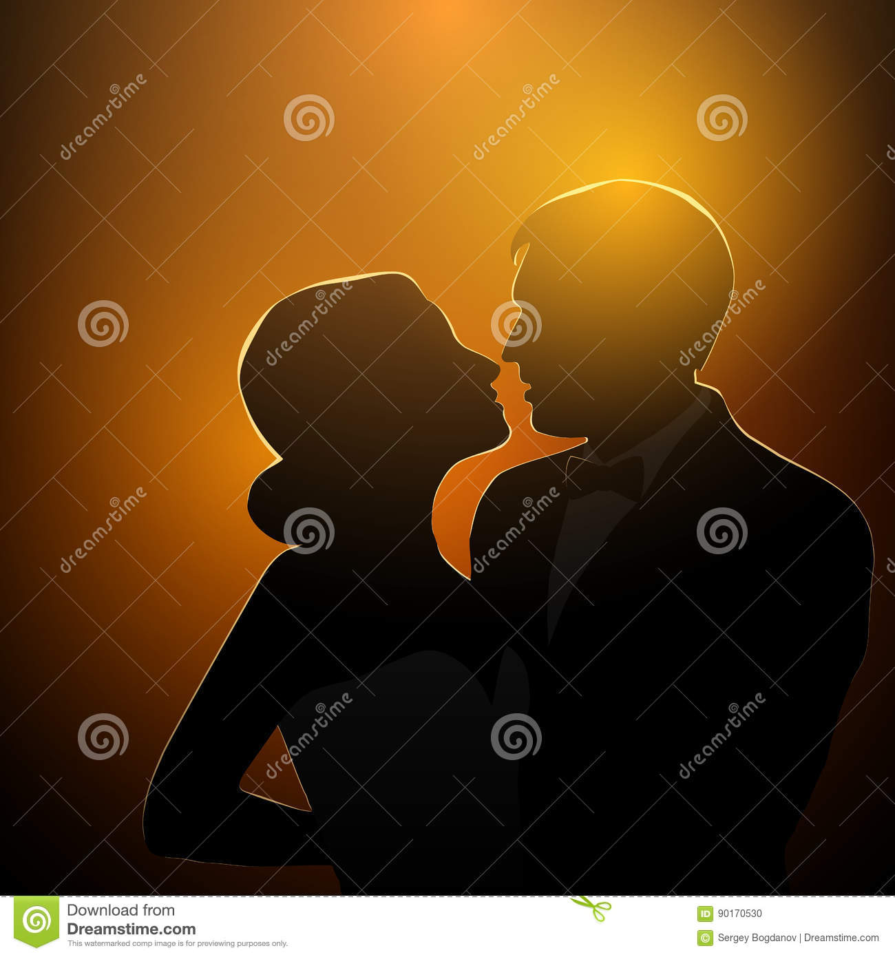 dating couple silhouette vector