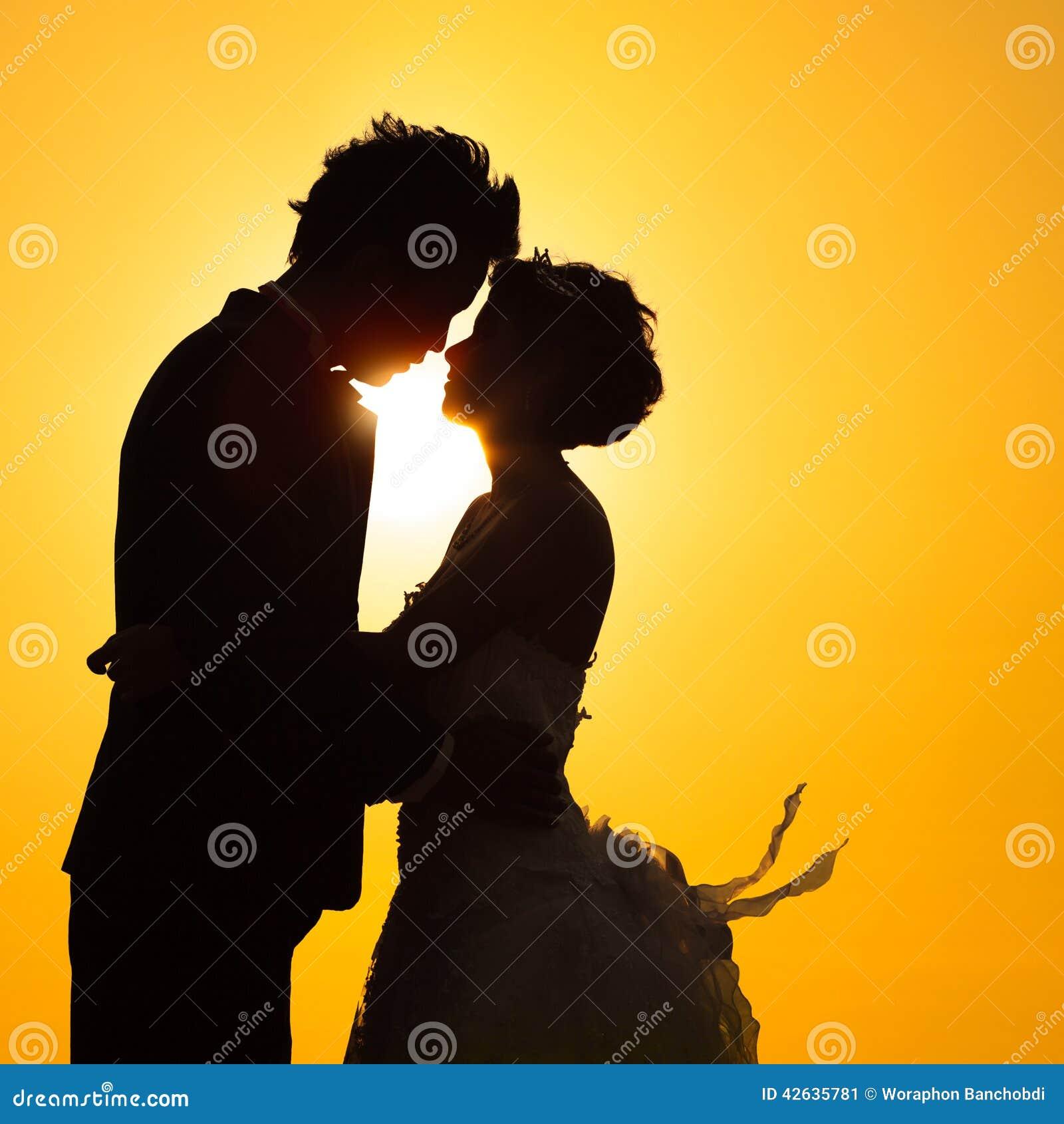 Silhouette Couple Love Stock Image. Image Of Beach, Love