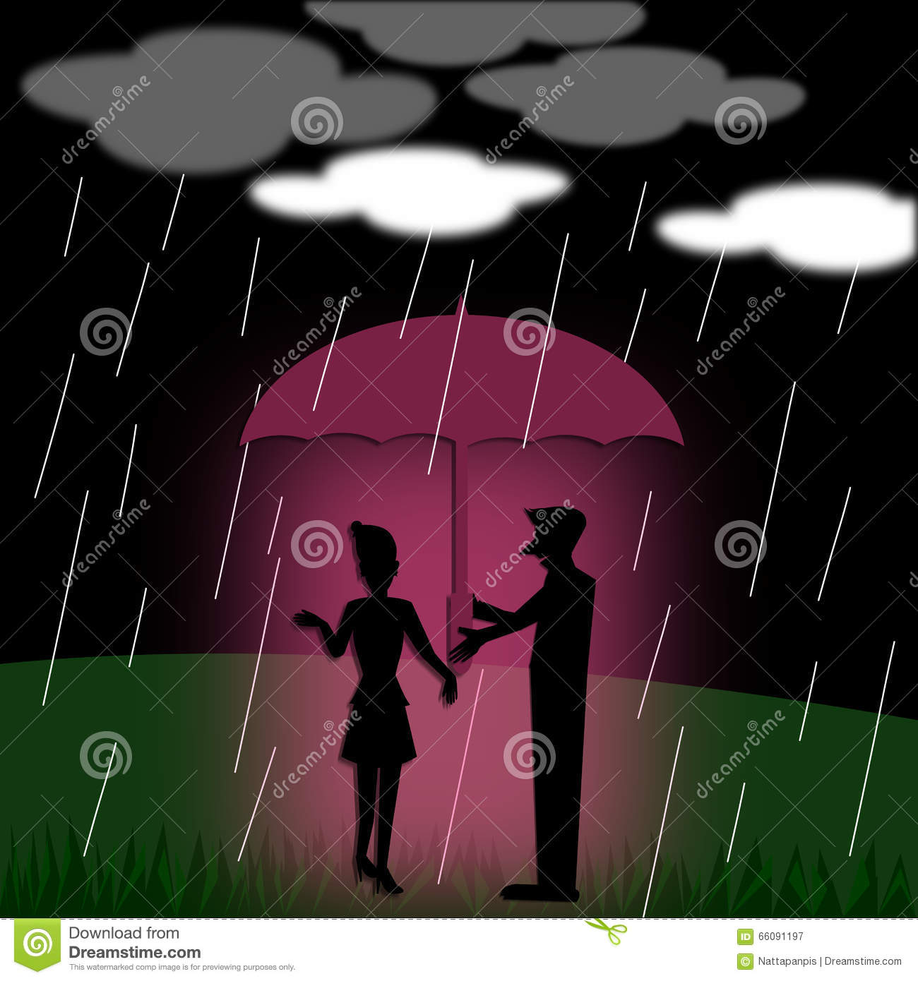 Silhouette Couple Love With Umbrella Standing Under The