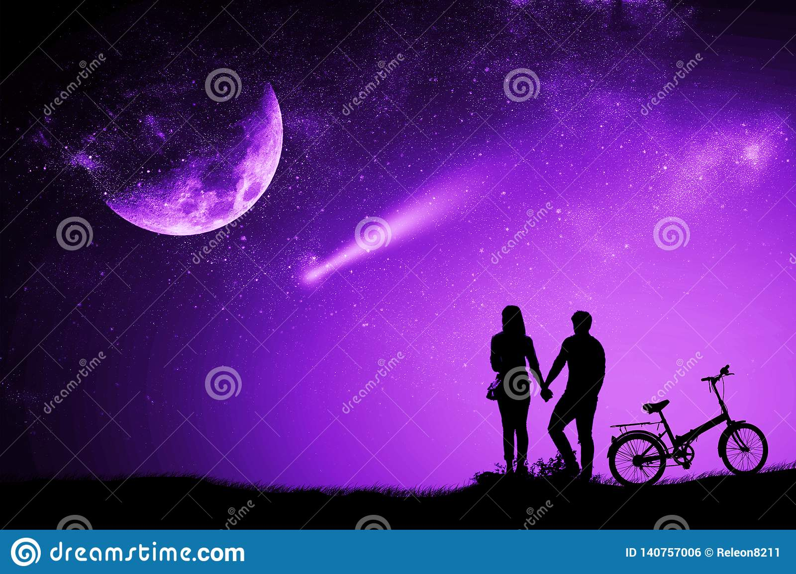 Silhouette couple man and woman holding hand moon night watching a meteor
