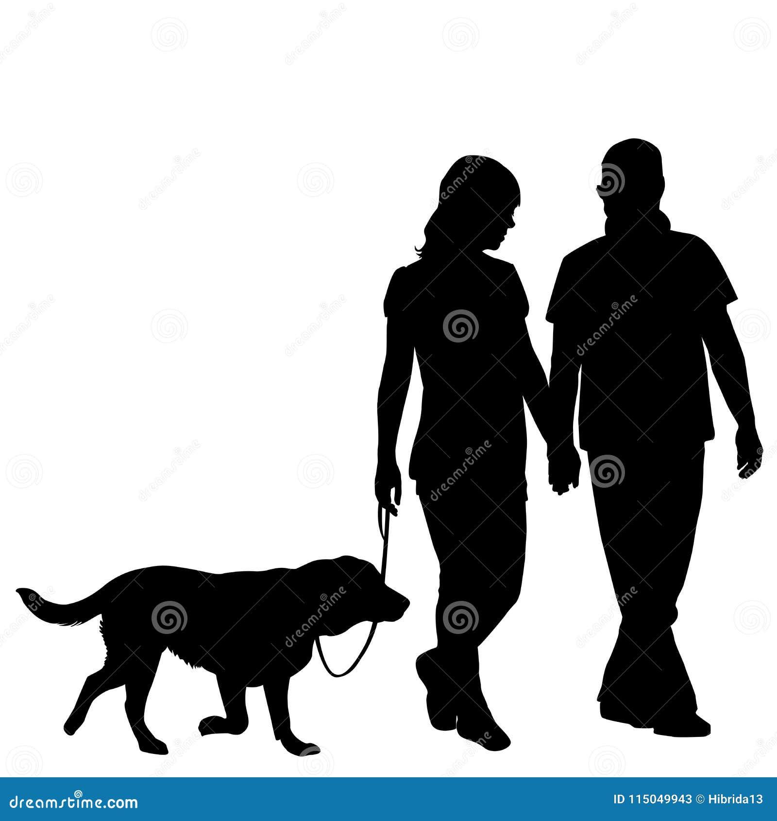 silhouette couple walking dog stock illustrations � 134