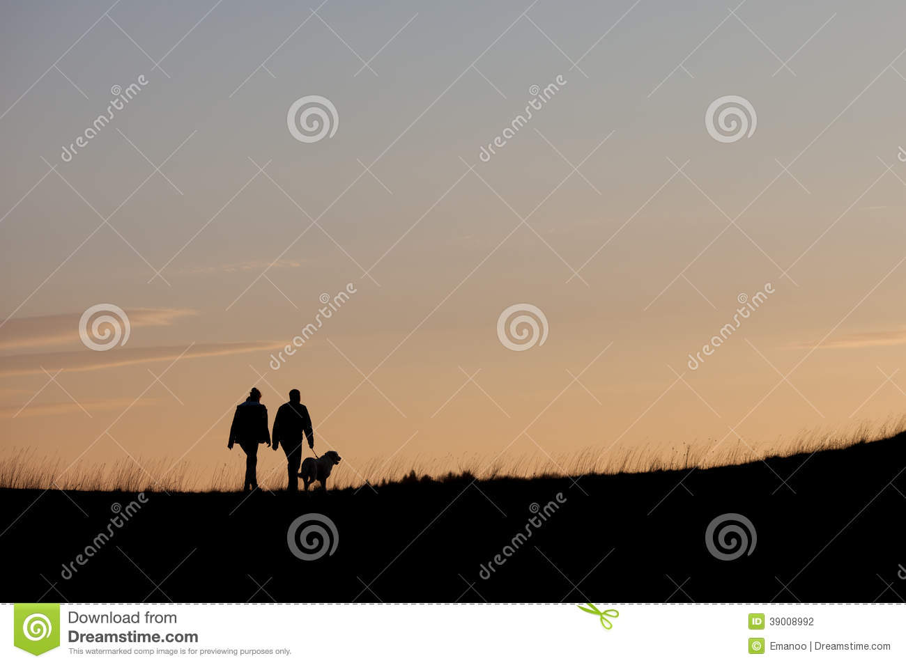 silhouette with couple walking with dog stock photo