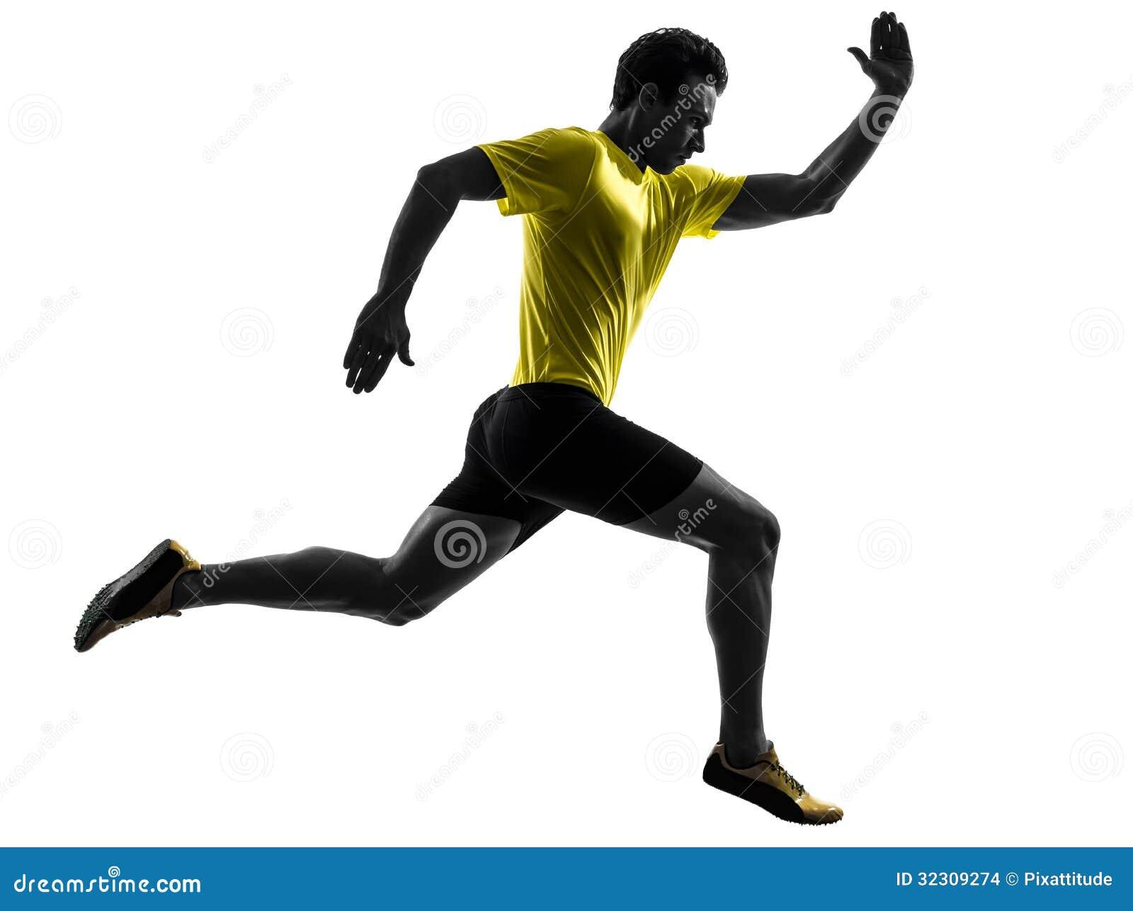 Silhouette courante de coureur de sprinter de jeune homme