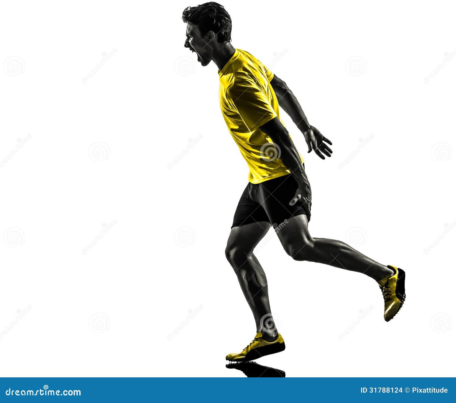 Silhouette courante de crampe de tension de muscle de coureur de sprinter de jeune homme