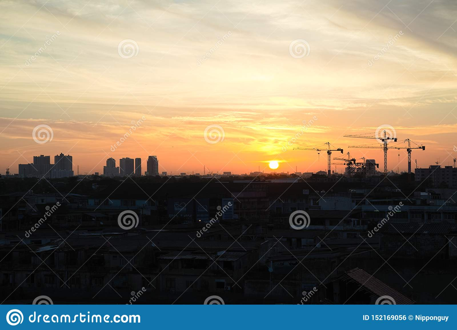 The silhouette of crane in Bangkok, Thailand