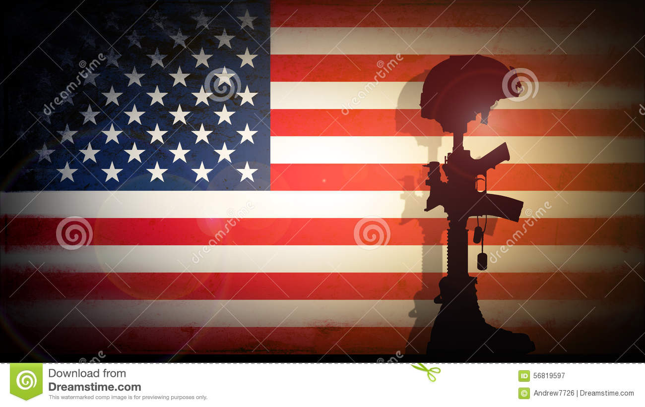 silhouette of the cross of the fallen soldier stock illustration
