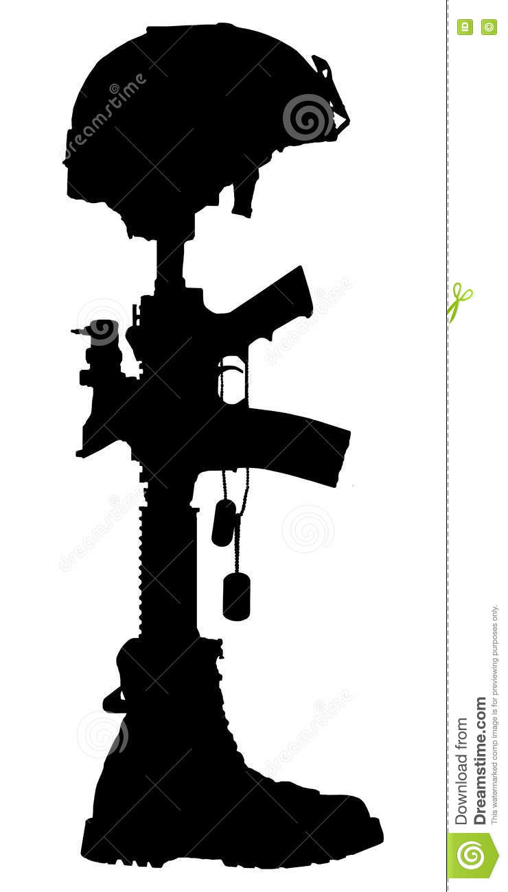silhouette of the cross of the fallen soldier stock photo image