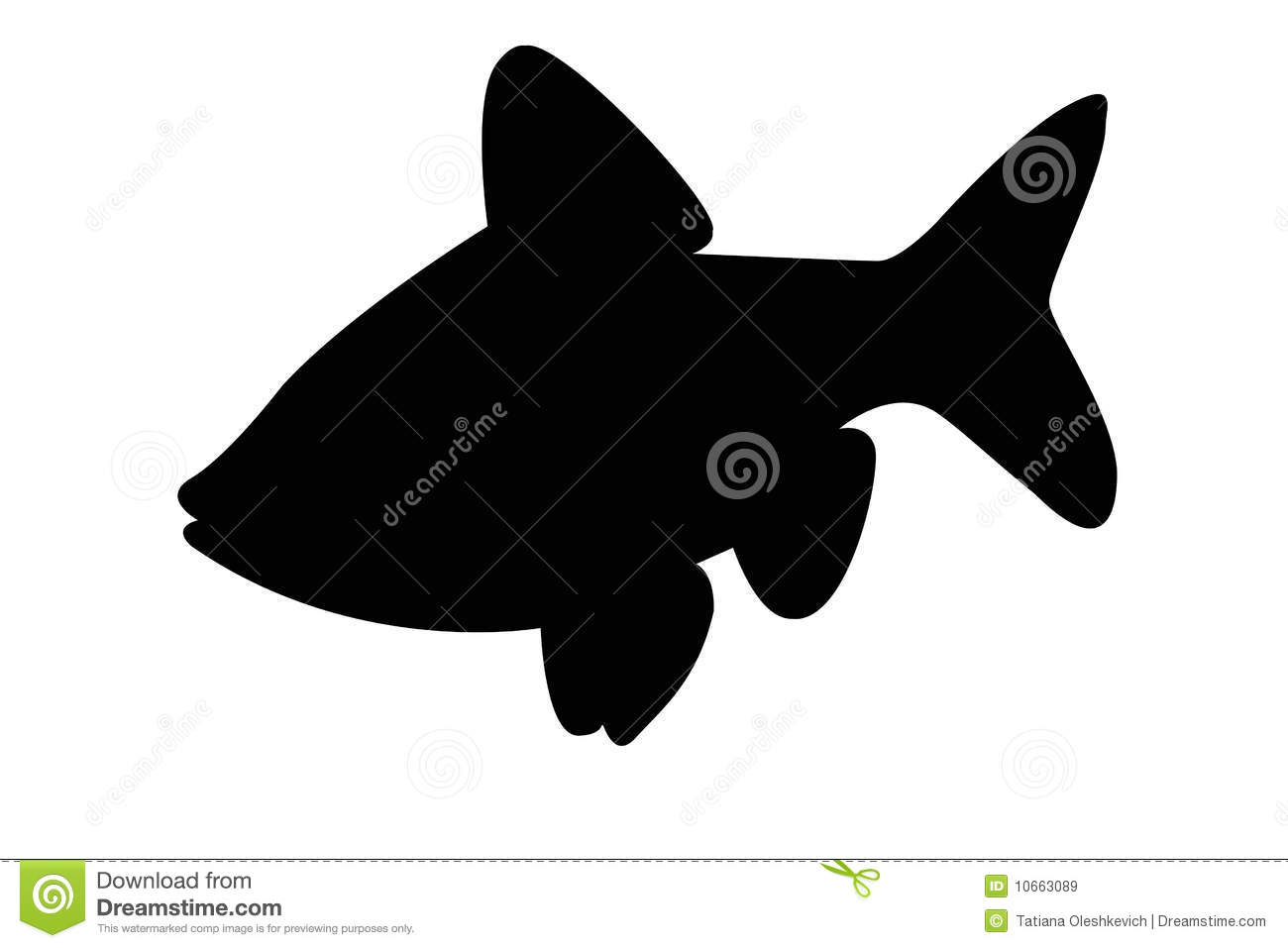 Silhouette Of Crucian Carp Fish Isolate Royalty Free Stock