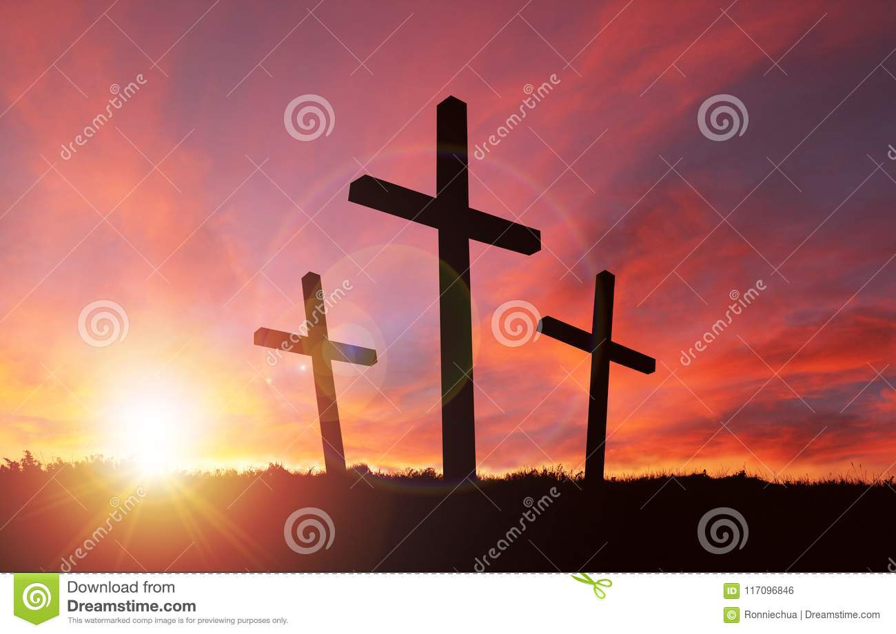 Crucifixion Of Jesus With Sunset Sky And Copy Space Stock ...