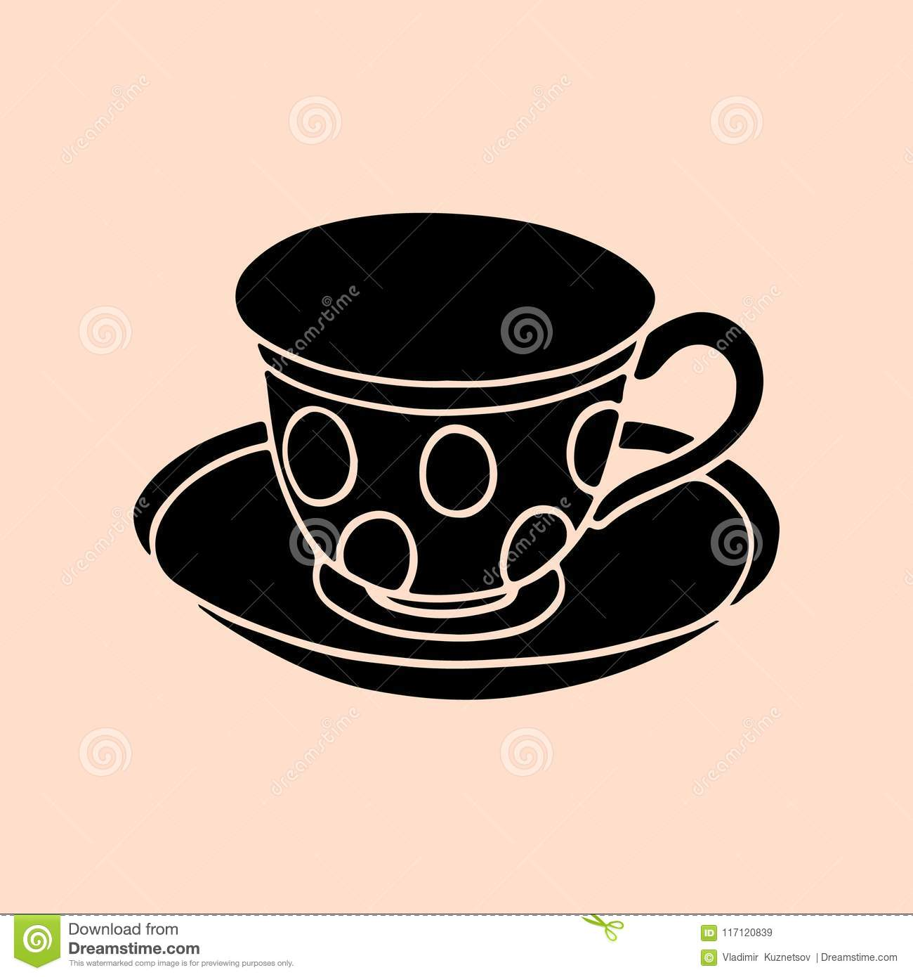 Silhouette Of A Cup And Saucer For Coffee Black On A Pink Background Stock Vector Illustration Of Background Drink 117120839