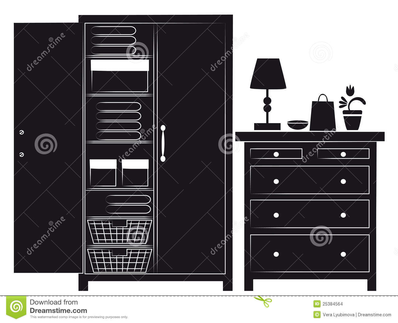 Silhouette Of Cupboard And Chest Of Drawers Stock Images
