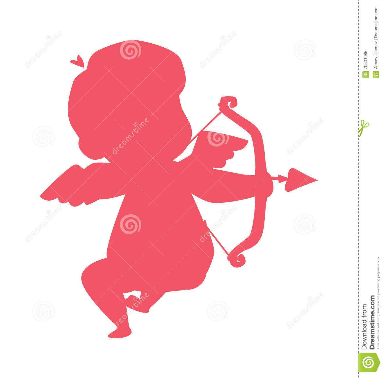 Schön Silhouette Of Cupid Valentine Angel Love Child Vector Illustration.