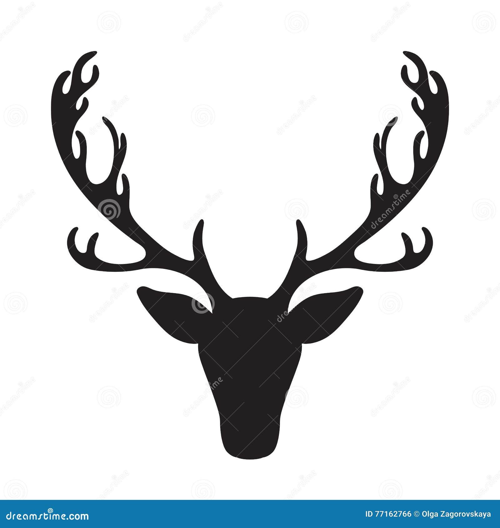Silhouette d élans d isolement par illustration principale de vecteur de cerfs communs