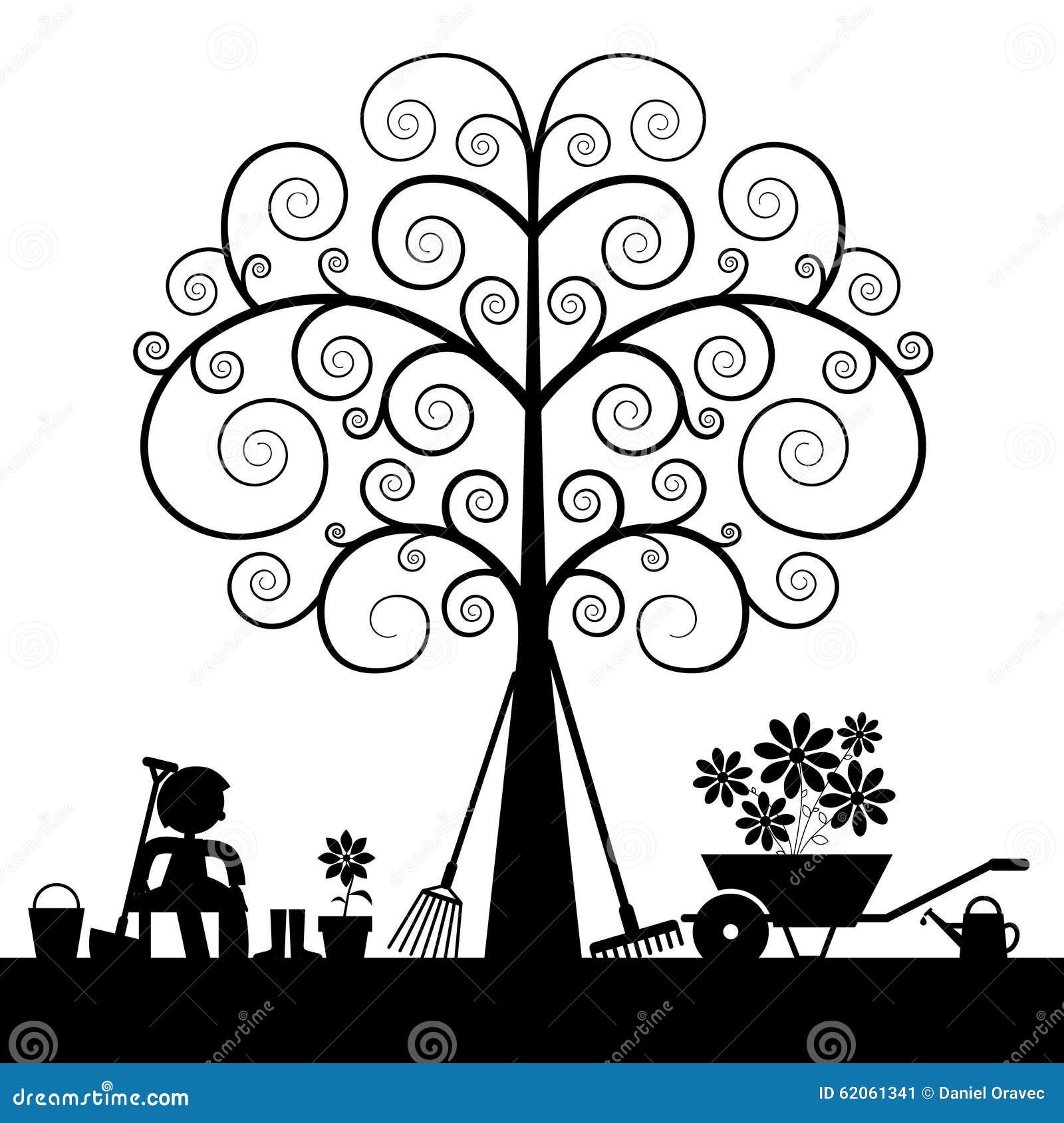 Silhouette d 39 arbre avec des outils de jardinage illustration de vecteur illustration du boyau - Outils de jardinage avec images ...