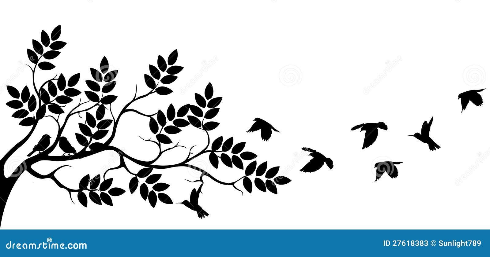 Silhouette d 39 arbre avec le vol d 39 oiseau illustration stock - Dessin oiseau en vol ...