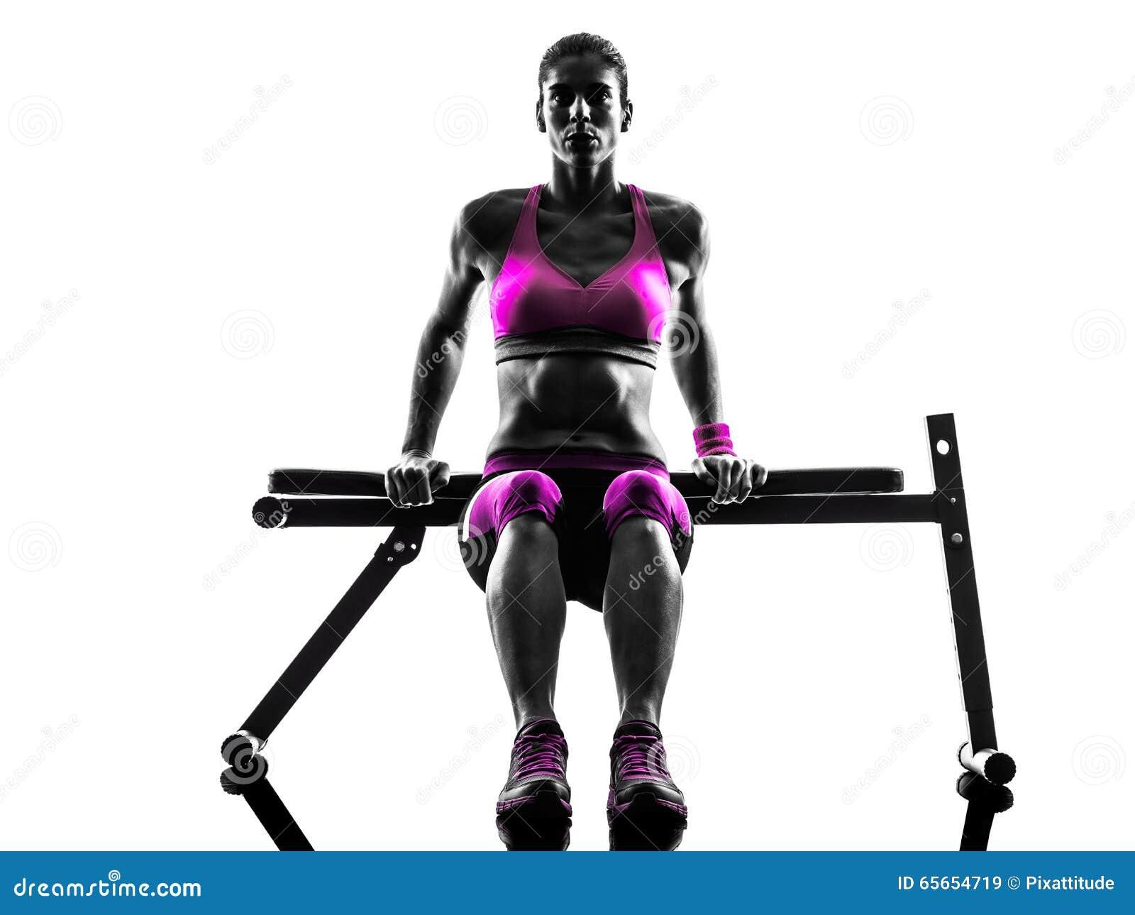 Silhouette d exercices de pousées de forme physique de femme