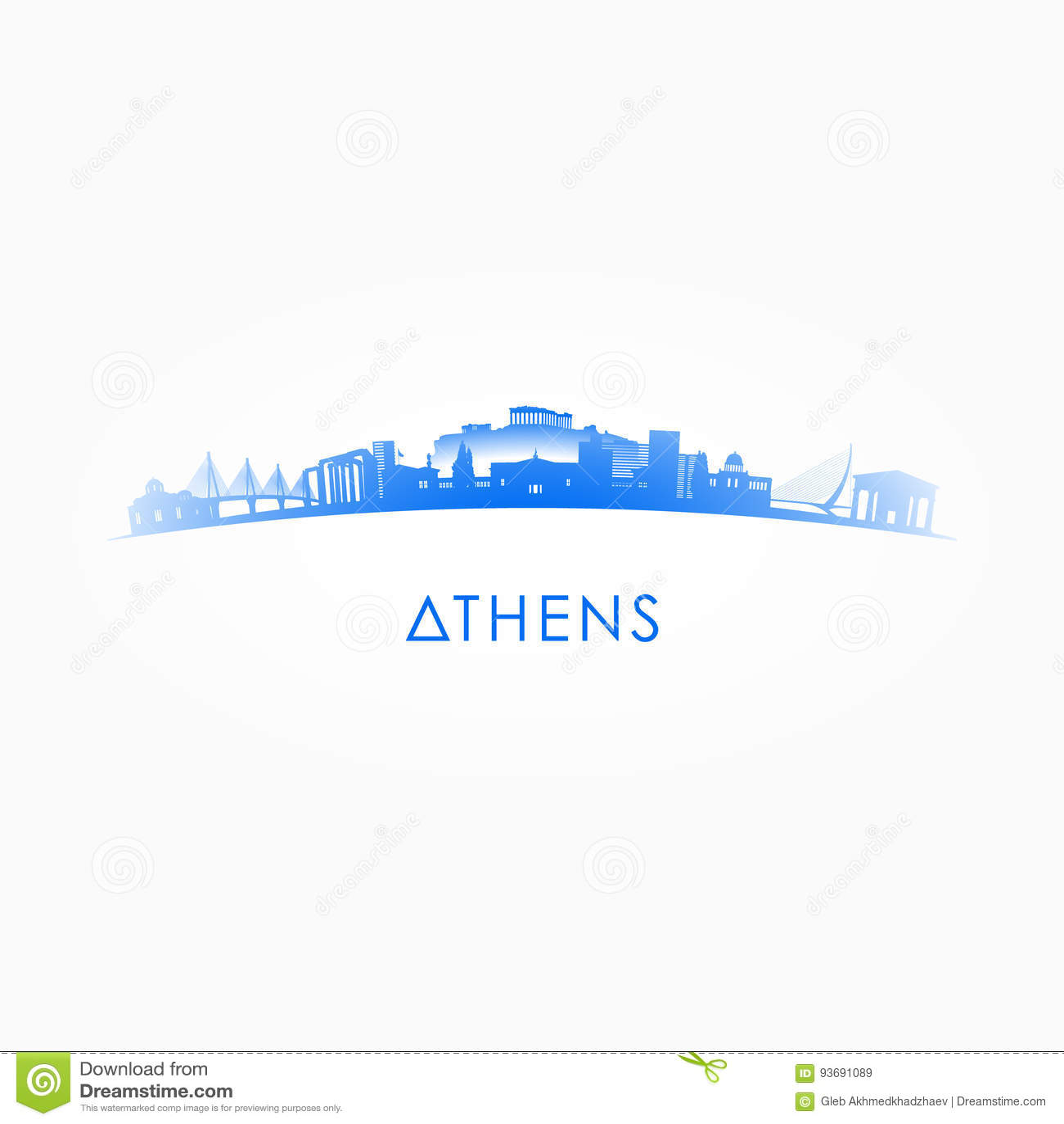 Silhouette d horizon d Athènes, Grèce
