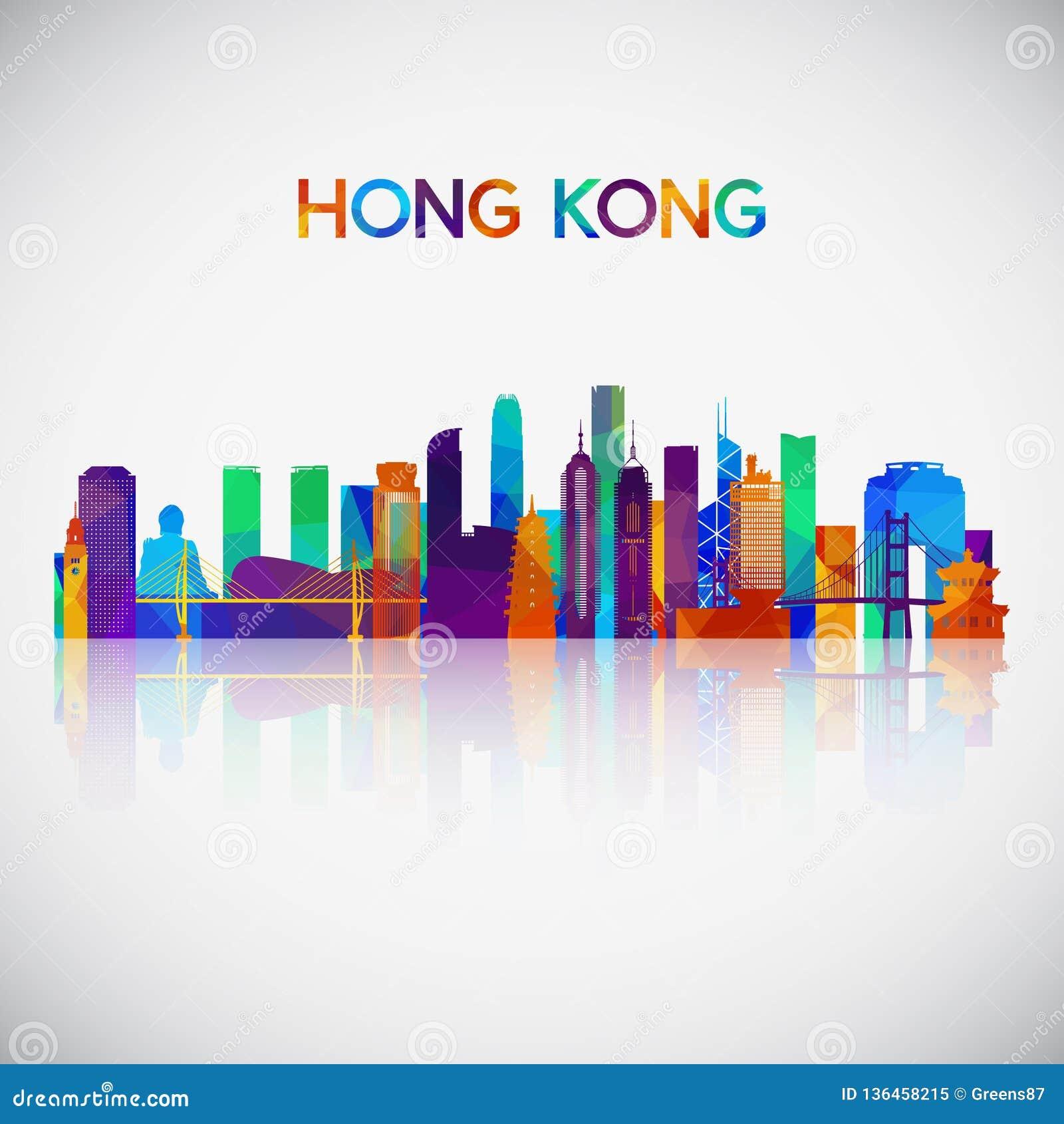 Silhouette d horizon de Hong Kong dans le style géométrique coloré