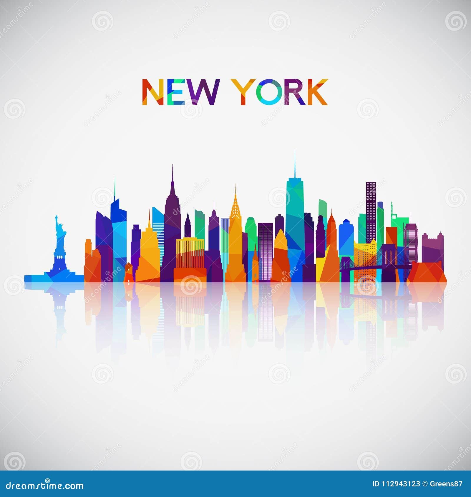 Silhouette d horizon de New York dans le style géométrique coloré
