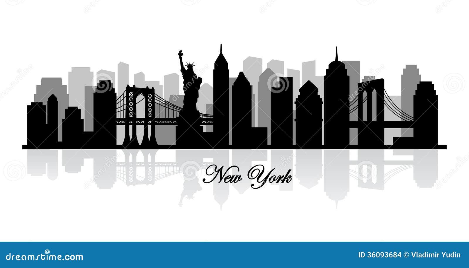 Silhouette d horizon de New York de vecteur