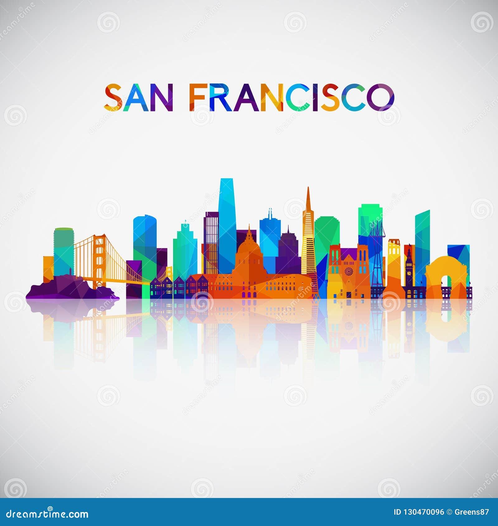 Silhouette d horizon de San Francisco dans le style géométrique coloré