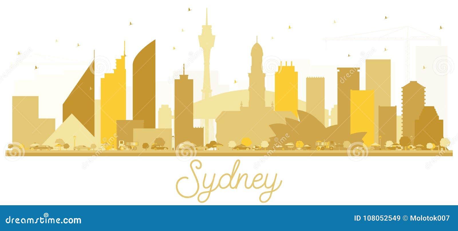 Silhouette d or d horizon de Sydney Australia City