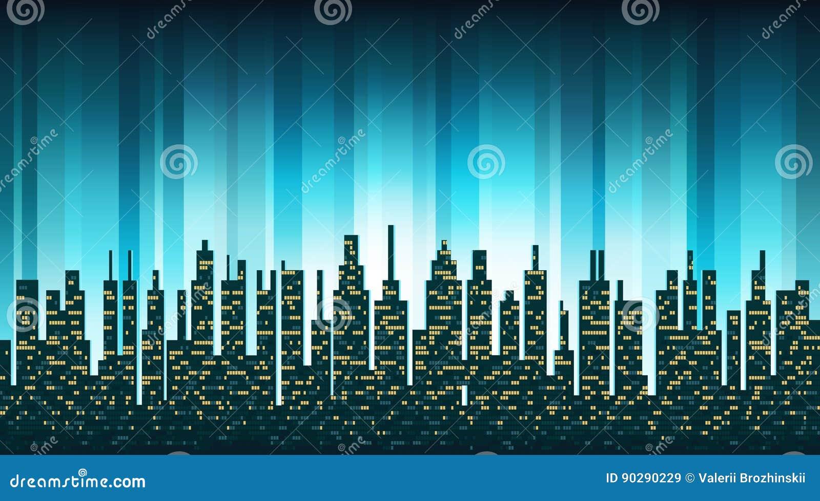 Silhouette d horizon de ville avec Windows lumineux dans le backgrou